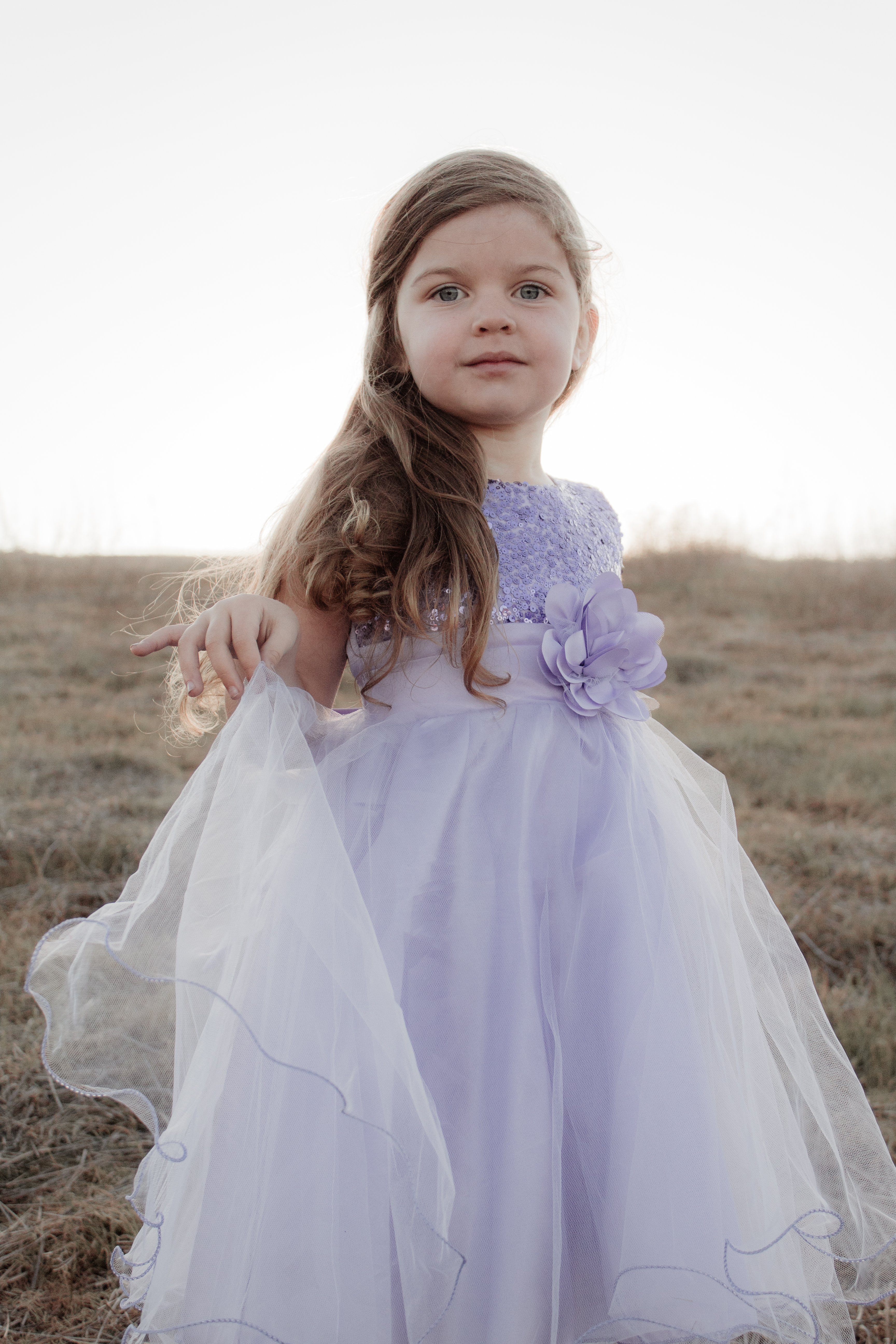 A photo of a little girl in a sparkly purple dress in a meadow.